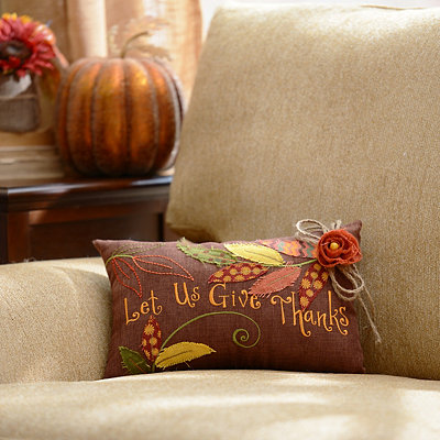 Burlap Give Thanks Pillow