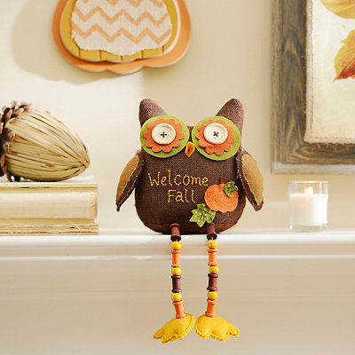 Brown Fall Feathers Owl Shelf Sitter