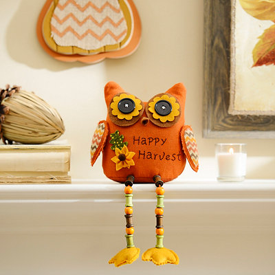 Orange Fall Feathers Owl Shelf Sitter