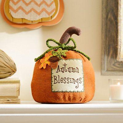 Autumn Blessings Burlap Pumpkin