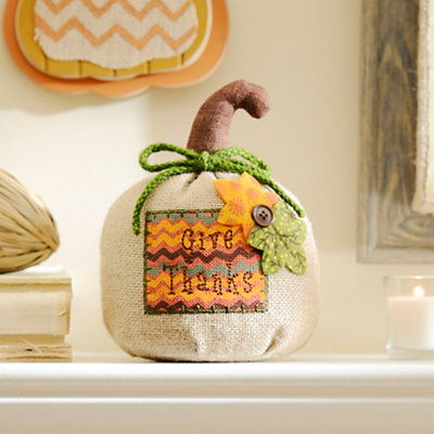 Give Thanks Burlap Pumpkin