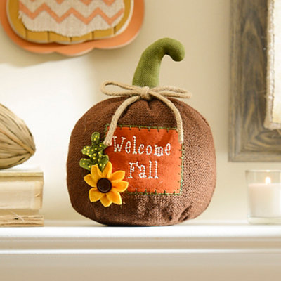Welcome Fall Burlap Pumpkin