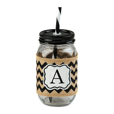 Burlap Monogram A Mason Jar Sipper