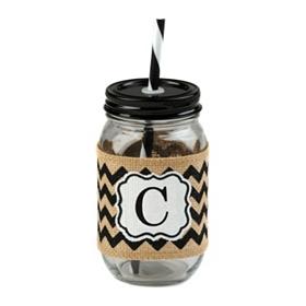 Burlap Monogram C Mason Jar Sipper