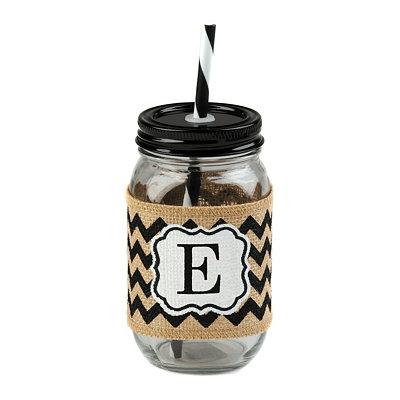 Burlap Monogram E Mason Jar Sipper