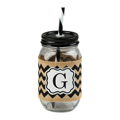 Burlap Monogram G Mason Jar Sipper