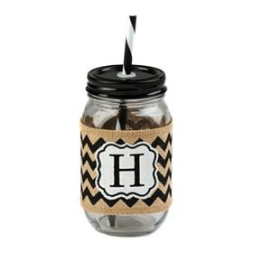 Burlap Monogram H Mason Jar Sipper