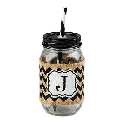 Burlap Monogram J Mason Jar Sipper