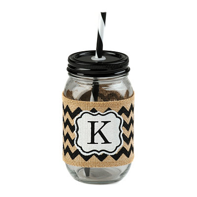 Burlap Monogram K Mason Jar Sipper