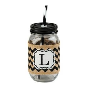 Burlap Monogram L Mason Jar Sipper