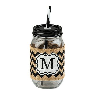Burlap Monogram M Mason Jar Sipper