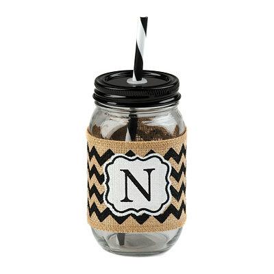 Burlap Monogram N Mason Jar Sipper
