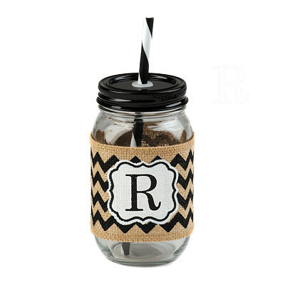 Burlap Monogram R Mason Jar Sipper