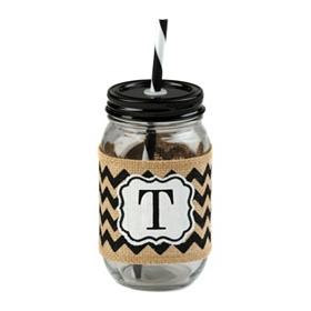 Burlap Monogram T Mason Jar Sipper