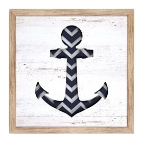 Navy Chevron Anchor Shadowbox