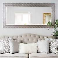 Metallic Silver Block Framed Mirror, 31.5x65.5 in.