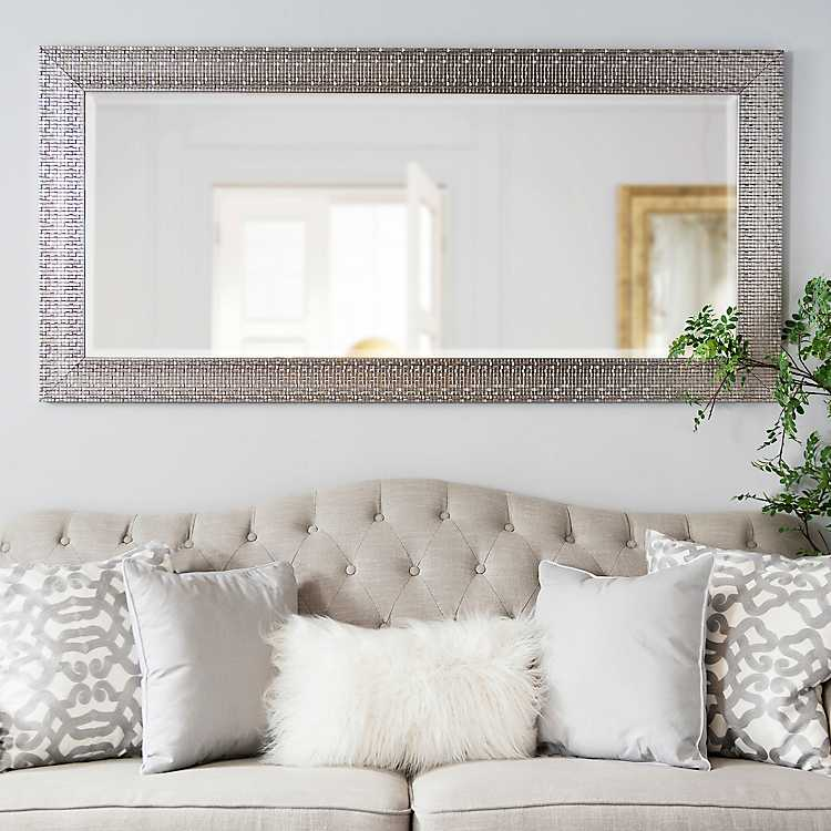 Metallic Silver Blocks Framed Mirror 32x66 In Kirklands