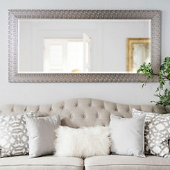 Silver Squares Framed Mirror, 32x66 in.