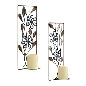Wallis Blue Jeweled Floral Sconce, Set of 2