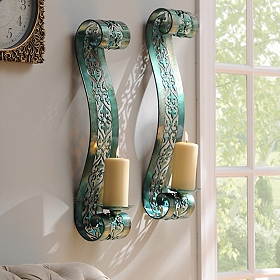Blue Parker Scroll Sconce, Set of 2
