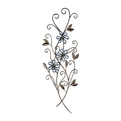 Wallis Blue Jeweled Floral Metal Plaque