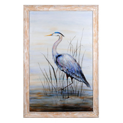 Blue Heron Framed Canvas Art Print