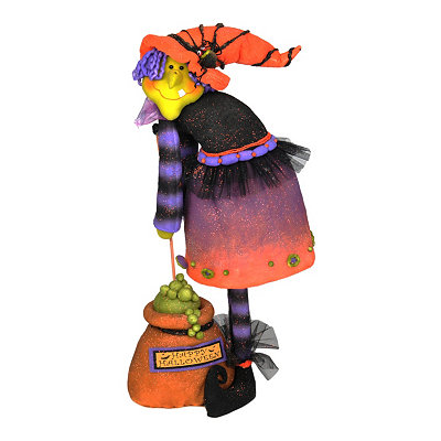 Plush Witch & Cauldron Statue