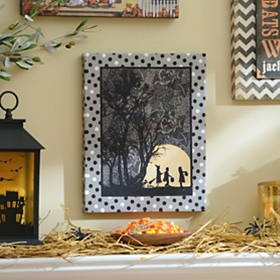Silhouette Trick or Treaters Canvas Art Print