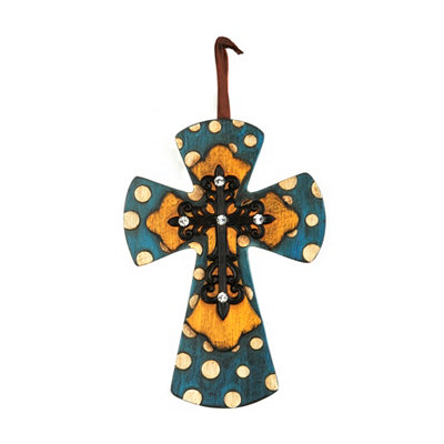 Blue & Orange Cross Pendant
