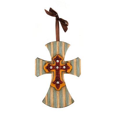 Striped Cross Pendant