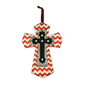 Red Chevron Cross Pendant