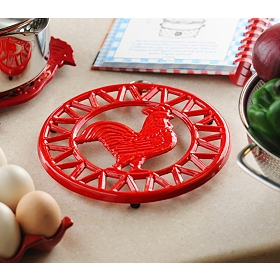 Red Chicken Iron Trivet