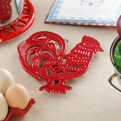 Red Rooster Iron Trivet