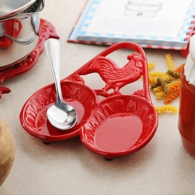 Red Rooster Double Spoon Rest