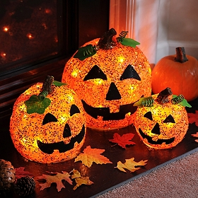 Pre-Lit Jack-O-Lanterns, Set of 3