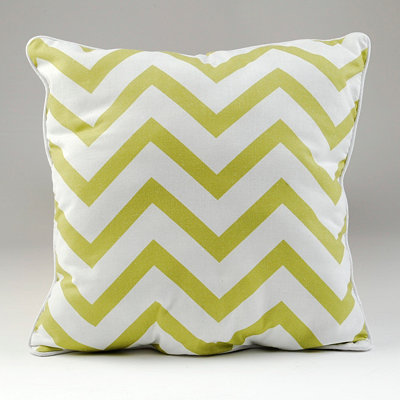 Green and White Chevron Pillow