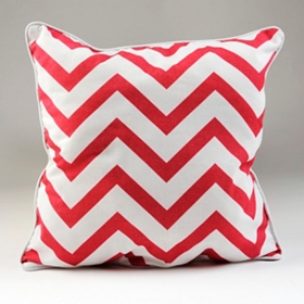 Pink and White Chevron Pillow
