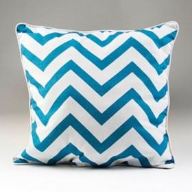 Blue and White Chevron Pillow