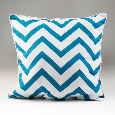 Blue and White Chevron Pillow