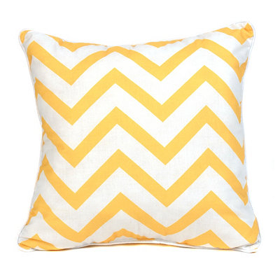 Yellow and White Chevron Pillow