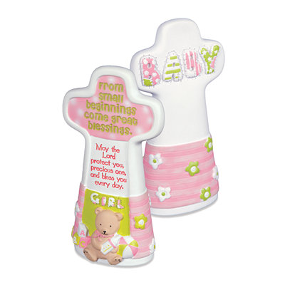 Pink Baby Girl Blessings Cross Statue