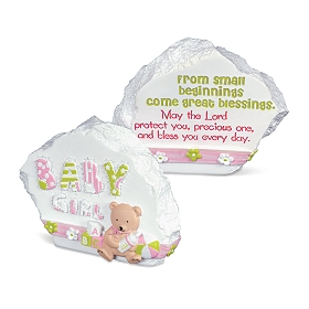 Pink Baby Girl Blessings Stone Statue