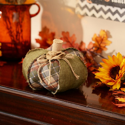Green Plaid Burlap Pumpkin