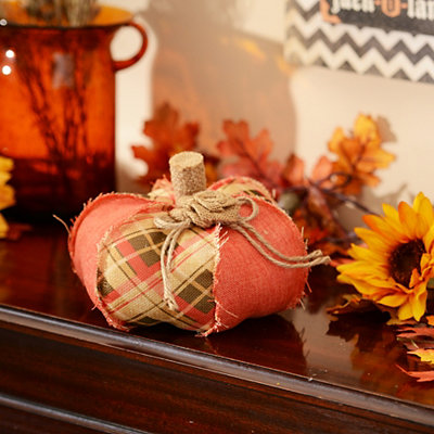 Orange Plaid Burlap Pumpkin