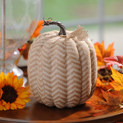 Tan Burlap Chevron Pumpkin