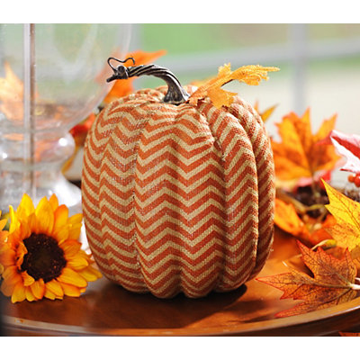 Orange Burlap Chevron Pumpkin