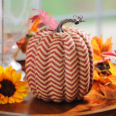 Red Burlap Chevron Pumpkin