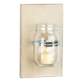 Cream Mason Jar Sconce