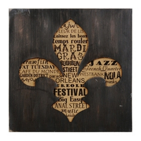 Black & Tan Fleur-de-lis Typography Shadowbox