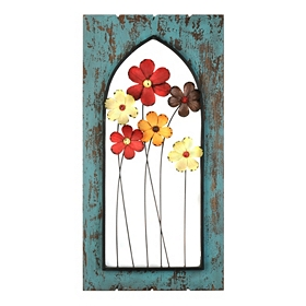 Flowers in the Cathedral Window Wall Plaque